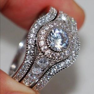 Jewelry - 14k white gold diamond CZ 3 ring set wedding